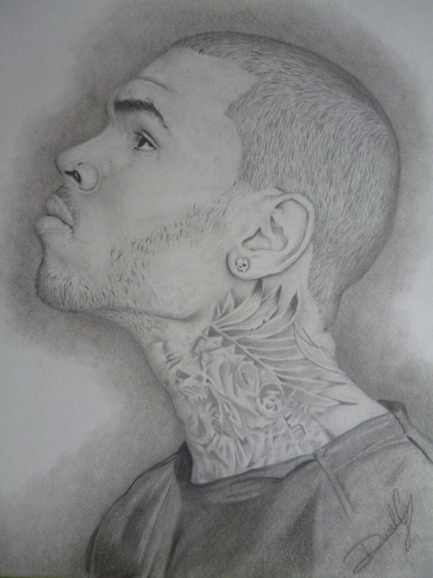 how to draw chris brown face